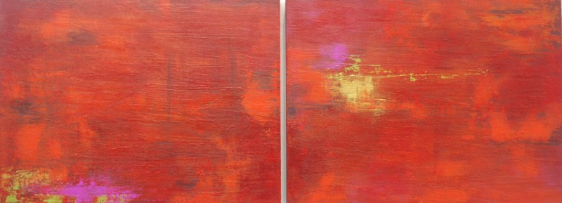 Corazon Sabroso ( Yummy Heart) Acrylic on Panel. 18×48 Diptych
