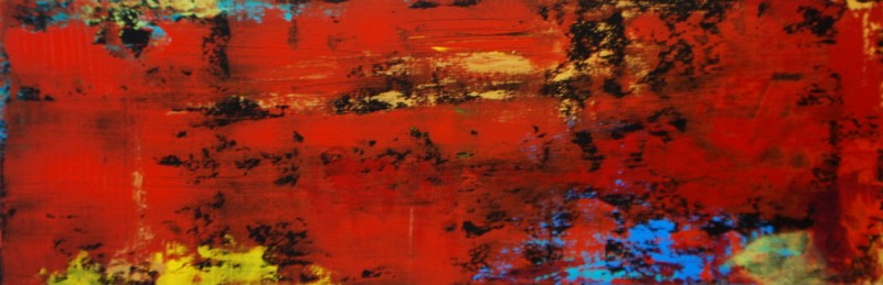 Fuego y Furia (Fire and Fury). Acrylic on Panel.8×24